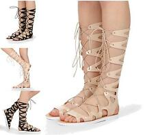 Womens Gladiator Strappy Knee High Hollow Out Roman Flat Sandals Shoes