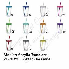 Classic Mosaic Acrylic Tumbler Double Wall w Lid and Straw 16 Oz Personalized!