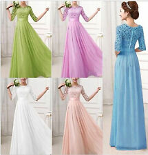 Long Chiffon Lace Evening Formal Party Ball Gown Prom Bridesmaid Dress SZ 4-14