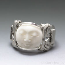 Carved Bone (bovine) Moon Face Cameo Sterling Silver Wire Ring