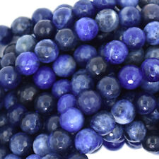 "Faceted Blue Sodalite Round Beads Gemstone 15"" Strand 4mm 6mm 8mm 10mm 12mm"