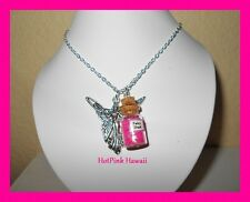 Pink Fairy Dust Pixie Charm Bottle Silver Plated Novelty Fun Necklaces USA MADE