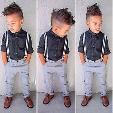 2PCS Kids Baby Boys Toddler Shirt+Bib Pants Overalls Trousers Clothes Outfit Set