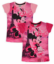 Girls Disney Minnie Mouse T Shirt Short Sleeved Top New Kids Tee Ages 3-8 Years