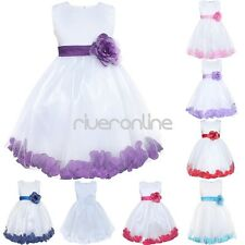 Flower Girls Petals Formal Pageant Party Wedding Bridesmaid Baptism Dress Gown