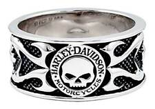Harley-Davidson Men's Willie G Skull Tribal Flames Band Ring, Silver HDR0399