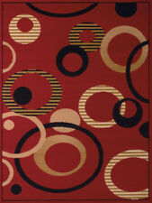 Red Contemporary Circles Area Rug Loops Hoops Dots Rings Polypropylene Carpet