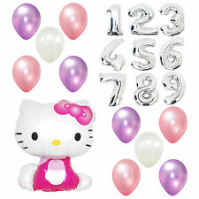Girl Birthday Party Supplies Hello Kitty Giant Numbers Foil pink Balloon Bouquet