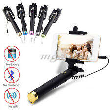 New Extendable Wired Portrait Selfie Handheld Stick Monopod for iPhone Samsung