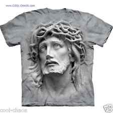 Face of Jesus T-Shirt / 'Crown of Thorns' 3D JESUS grey tie dye art tee