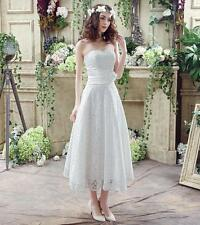 New Arrival Womens Lace Wedding Dress Strapless Bridesmaid Dresses White/Ivory