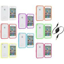 Bumper TPU Solid Jelly Color Rubber Skin Case+Aux Cable for iPhone 4 4S 4G
