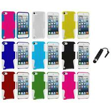Hybrid Mesh Hard/Soft Skin Case Cover+Stylus Plug for iPod Touch 5th Gen 5G 5