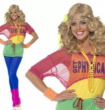 FANCY DRESS LADIES LETS GET PHYSICAL 80's CLUBBING COSTUME - SIZES 6-18