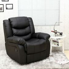 seattle black leather recliner armchair sofa home lounge chair reclining - Black Leather Recliner Chair