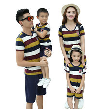 striped Family mother Girl dresses father boy t shirt pants sets Outfits clothes