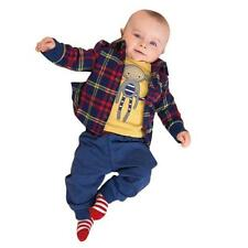 Newborn Baby Boy 3pcs Set Thick Plaid Coat + Pants + Shirts Clothes Set Suit