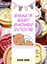 Baby Shower Personalised Love Heart Wrappers - baby girl Favours