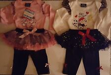 INFANT BABY GIRLS 2PC POODLE OR PARIS CAT TOP OR CREEPER & LEGGINGS SET 3-24 MOS
