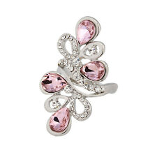 18K White Gold Plated Flower Pink Crystal Women Ring Jewelry CZ Rhinestone