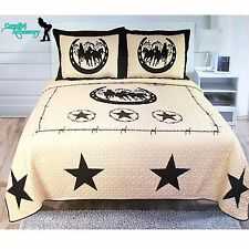 Texas Western Barbed Wire Star Wild Horses Quilt BedSpread Coverlet