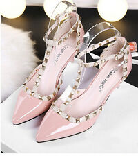 Women Shoes Mid Kitten Heels Party Pumps Rivet Studded Pointed Toe Strap Sandals