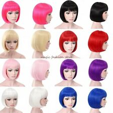 BOB Style Short Full Wig Cosplay Party Fancy Dress Hair Wig Black Blue Green FX