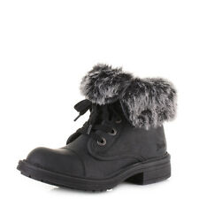 Womens Blowfish Farina Faux Fuzzy Fur Lined Lace Up Ankle Boots Sz Size