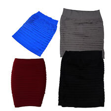 WD Womens Bandage Bodycon Skirt Ladies Ribbed Panel Stretch Mini Party Skirt