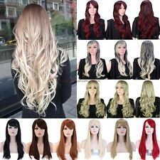 New Long Curly Straight Full Hair Wig Costume Cosplay Party Fancy Dress Red SW