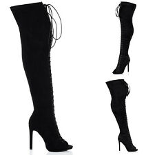 Womens Lace Up High Heel Stiletto Over Knee Tall Boots Sz 5-10