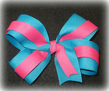 "Teal Pink Boutique Hair Bow 2 Tone Large 5"" Girl Baby"