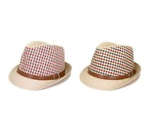 Multicolor Cowboy Cowgirl Fedora Straw Hat w/ Leather Band - 2 Colors Avail