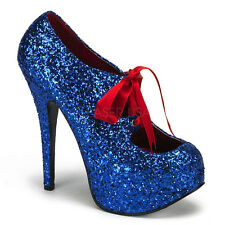 Bordello TEEZE-10G Blue Glitter Platform Pump