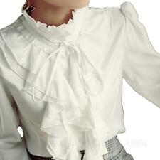Victorian Ladies Frilly Womens Silky Blouse Long Sleeve Top Office Shirt Size