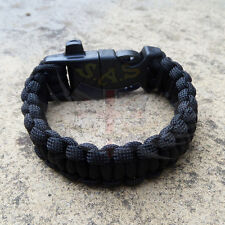 PARACORD SURVIVAL BRACELET,FIRE STEEL & WHISTLE BUCKLE,DESERT TAN,GREEN,BLACK