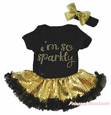 I M So Sparkly Black Bodysuit Gold Bling Sequins Girls Baby Dress Outfit NB-18M