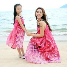 New summer Family Bohemian sleeveless beach chiffon dress women girls dresses