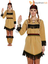 Ladies Deluxe Red Indian Costume Adult Pocahontas Native American Costume 10-14