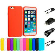 For Apple iPhone 6 (4.7) Silicone Case Rubber Soft Skin Cover 2X Chargers