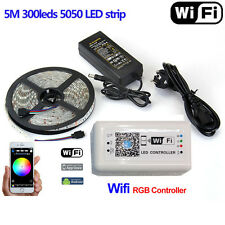 5M 5050 SMD RGB LED Strip Light Tape Lamp 12V&Wifi Controller By Phone APP&Power