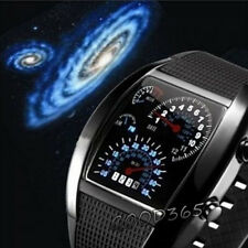 Sports RPM Turbo Blue Flash Digital Watches LED Car Speed Meter Dial Mens Watch