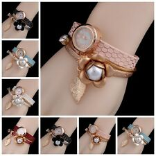 Fashion Gold Leaf Flower Chain Multilayer Crystal Bracelet Quartz Womens Watches