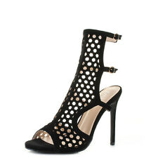 Womens Suede Style Stiletto High Heel Caged Party Sandals Shoes Sz Size