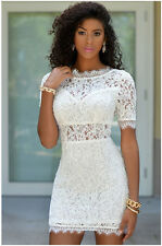 Women Short Sleeve Crochet Lace Eyelash Sexy Backless Mini Dress Club Wear