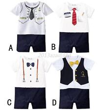 Toddler Baby Kid Boy Summer Clothing Tie Casual Bow Tie Bodysuit Romper Jumpsuit
