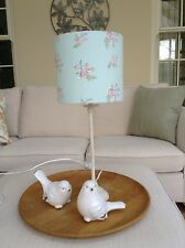 Handmade Lampshade Pastal Duck Egg Blue Pink Floral Fabric Shabby Chic Vintage