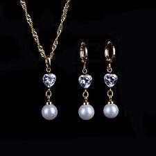Fine Gold Plated Heart Crystal & Pearl Bridal Wedding Necklace & Earring Set