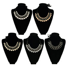 Elegant Pearl & Rhinestones w/Satin Ribbon Bib Statement Necklace- Diff. Colors