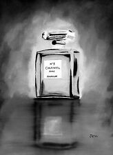 ART PRINT of CHANEL NO.5 Perfume, Black and White Edition, Wall Art, Fashion
